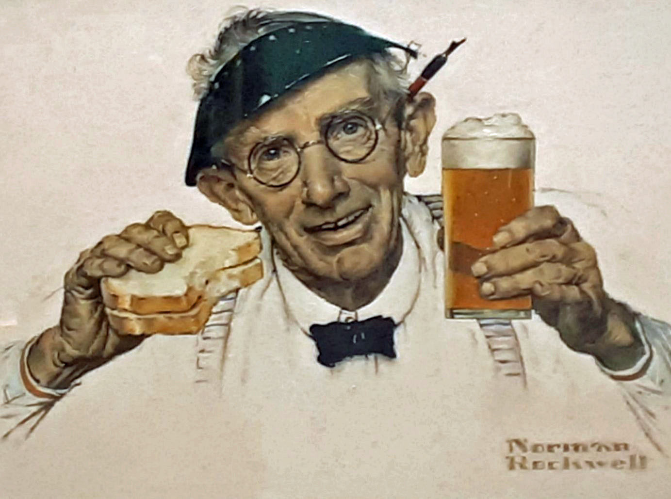 Norman Rockwell,'Man with Sandwich and Glass of Beer (1941)'